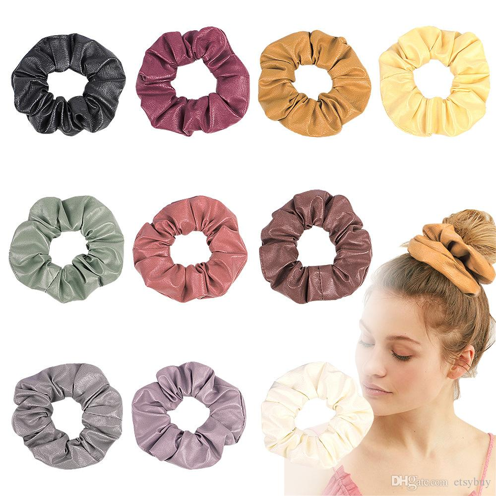 Fashion Lady girl Hair Scrunchy Ring Elastic Hair Bands Pure Color Large intestine Sports Dance Scrunchie Soft NEW PU Hairband