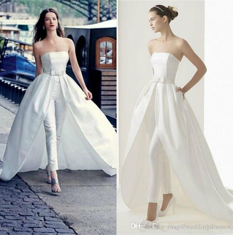 2019 Pantalones de moda Trajes Vestidos de novia con tren desmontable Mono Vestidos de novia Sin tirantes Vestido formal Ocasión especial