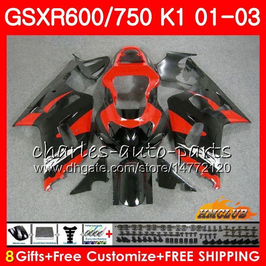 8Gifts Body For Suzuki GSXR 600 750 GSXR600 2001 2002 2003 4HC.73 GSX R750 GSXR-600 GSX-R750 K1 GSXR750 01 02 03 RODE BLACK HOT FACKETSET