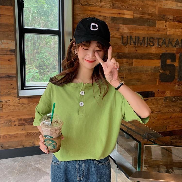 2020 à manches courtes T-shirt femme été 2019 nouvelle version coréenne du vent de l'université de Hong Kong rouge loose net saveur chemise BON chemise étrangère