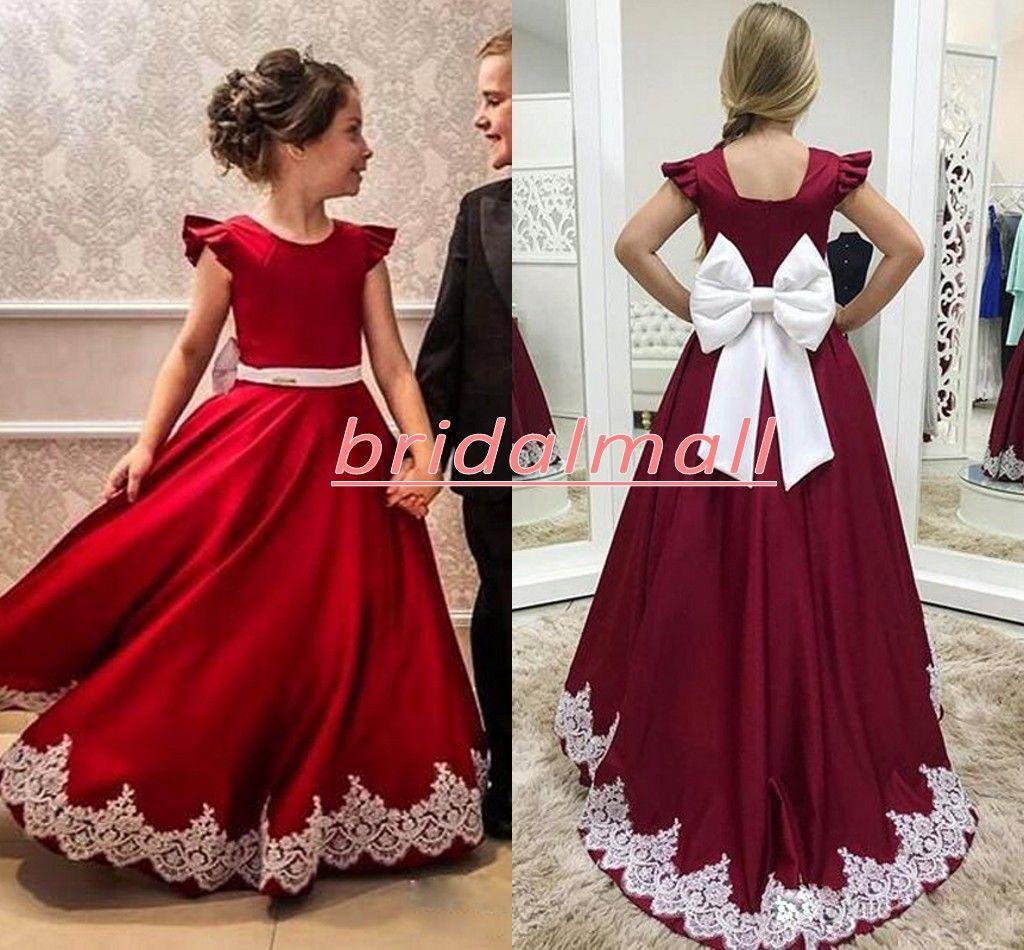 Satin rouge A Ligne longue fleur Girls Robes pour mariages Broad Cravate Ceinture blanche Applique ôinée enveloppe d'anniversaire robe d'anniversaire plis en bambin