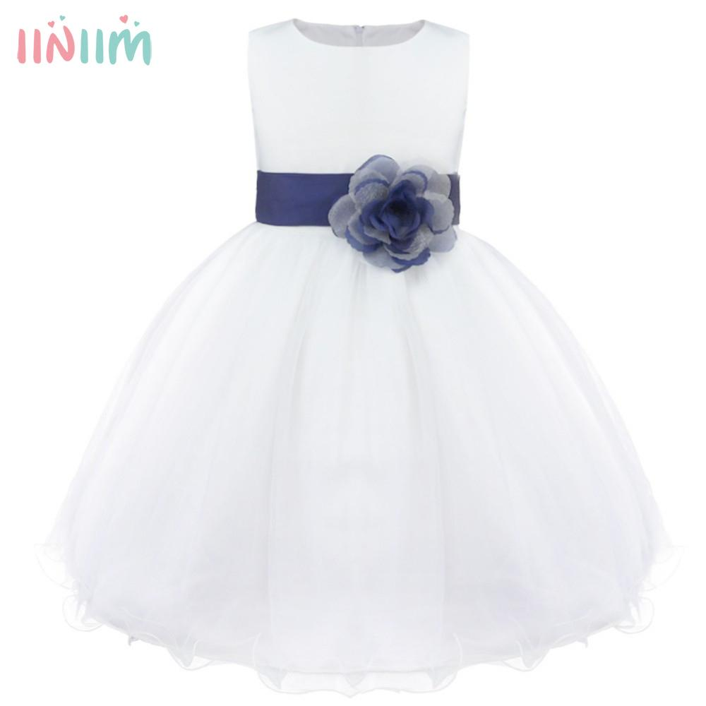 Iiniim Girls Flower Dress Children Bridesmaid Tutu Toddler Elegant Dress Pageant Wedding Tulle Formal Costume Party Dress Gift J190505