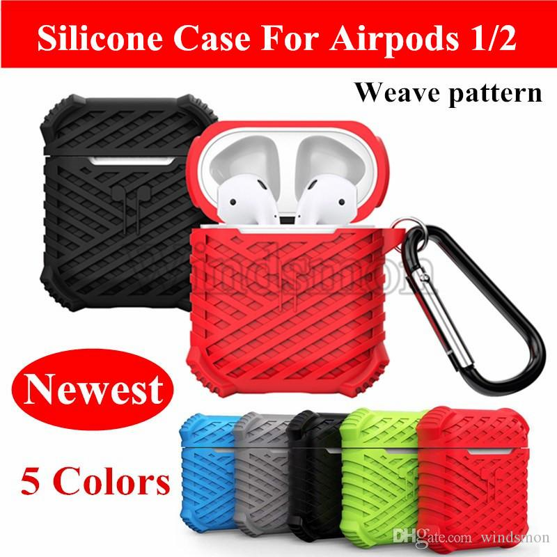 Weave Pattern Silicone Case For Wireless Bluetooth Headset Protective Cover for Airpods Earbud Accessories Earphone Charging Headphones Case