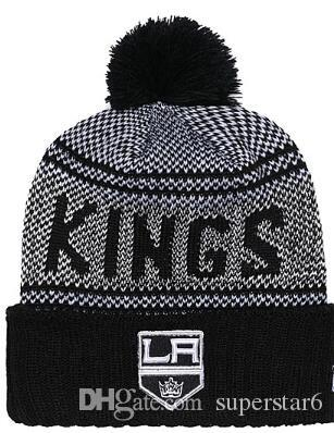 KINGS Hockey LOS ANGELES knit Beanies LA Embroidery Adjustable Hat Embroidered Snapback Caps Black Gray White Stitched Hats One Size 00