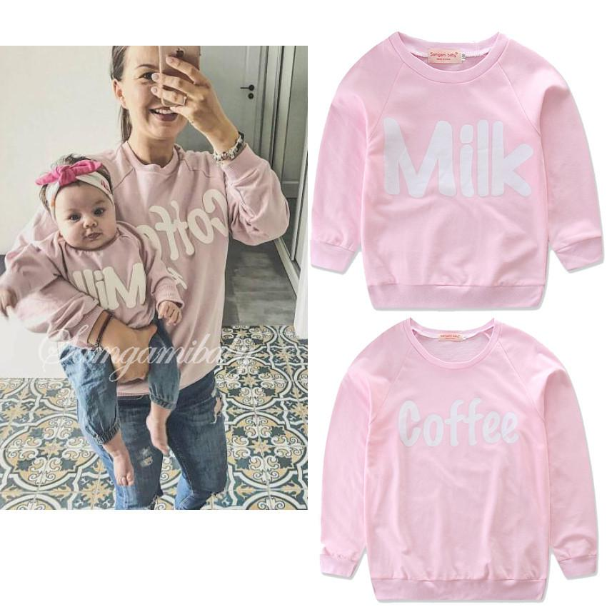 Family clothing Mom&Me long-sleeved sweatshirt Family matching outfits pink casual t-shirt