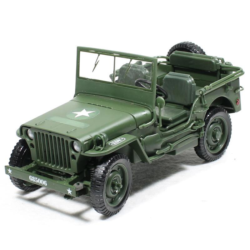 Alloy Diecast 1:18 For Jeep Military Tactics Car Model Opening Hood Panels To Reveal The Engine For Children Gift Toys J190525