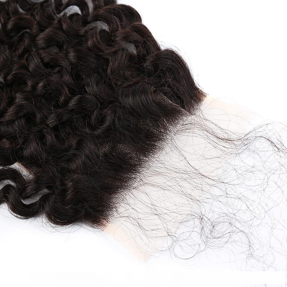 H Bella Capelli 4x4 pollici ricci capelli dell'onda pizzo HD svizzero Chiusura brasiliana vergine peruviana umani naturali di pizzo nero Chiusura con dei capelli del bambino S