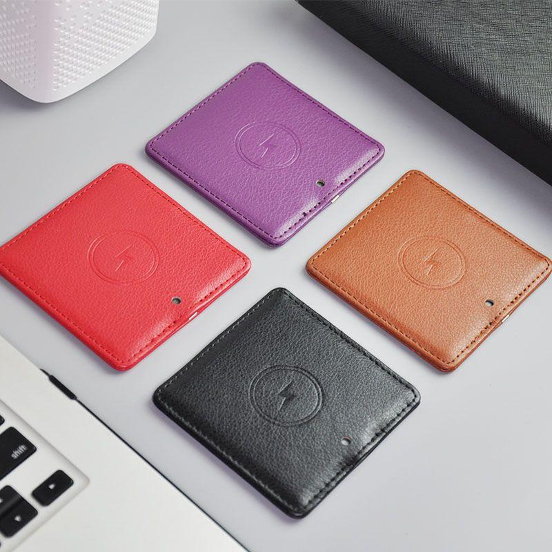 Универсальный Ци 10W быстро Беспроводное зарядное устройство телячьей кожи портативный зарядка Mini Pad для iPhone 11 Pro Max X Samsung Galaxy S6 S8 Xiaomi