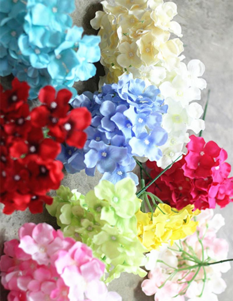 New Design Artificial Silk Hydrangea Flower Head Wedding Bouquet Decoration Or Diy Production Backdrop With Flowers 50pcs /Lot