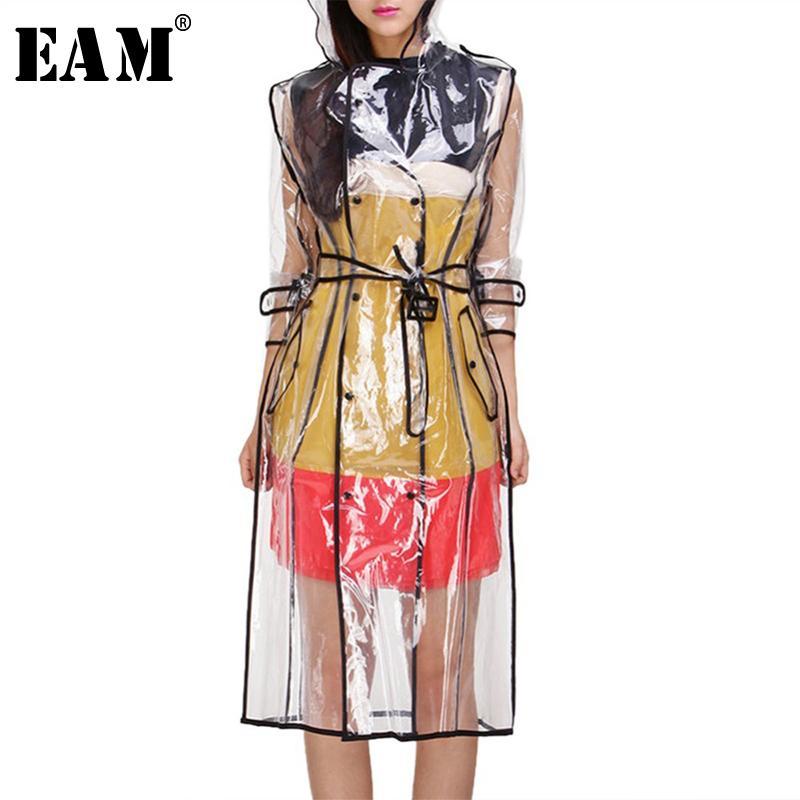 [EAM] 2020 New Women Transparent Fashion Tide Waterproof Raincoats Long Hooded Windbreaker Knee-length Outdoors Rainwear LA104 Y200101
