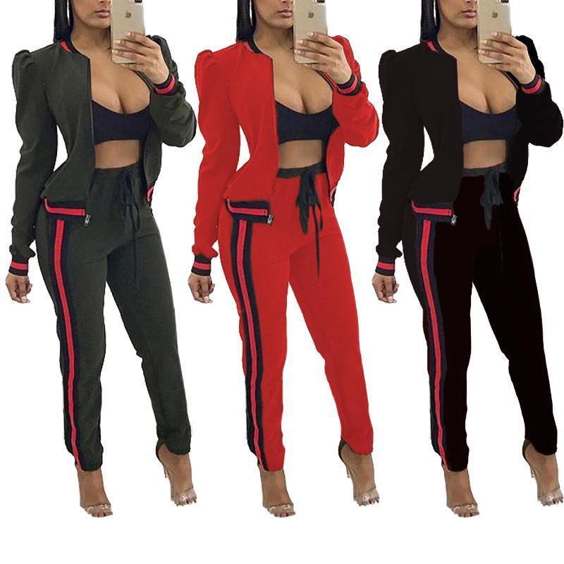 Moda Kadın Günlük Moda Sonbahar İlkbahar Uzun kollu İki Adet Jogger Seti Bayanlar Eşofman Ter Suits Siyah Kırmızı Güz