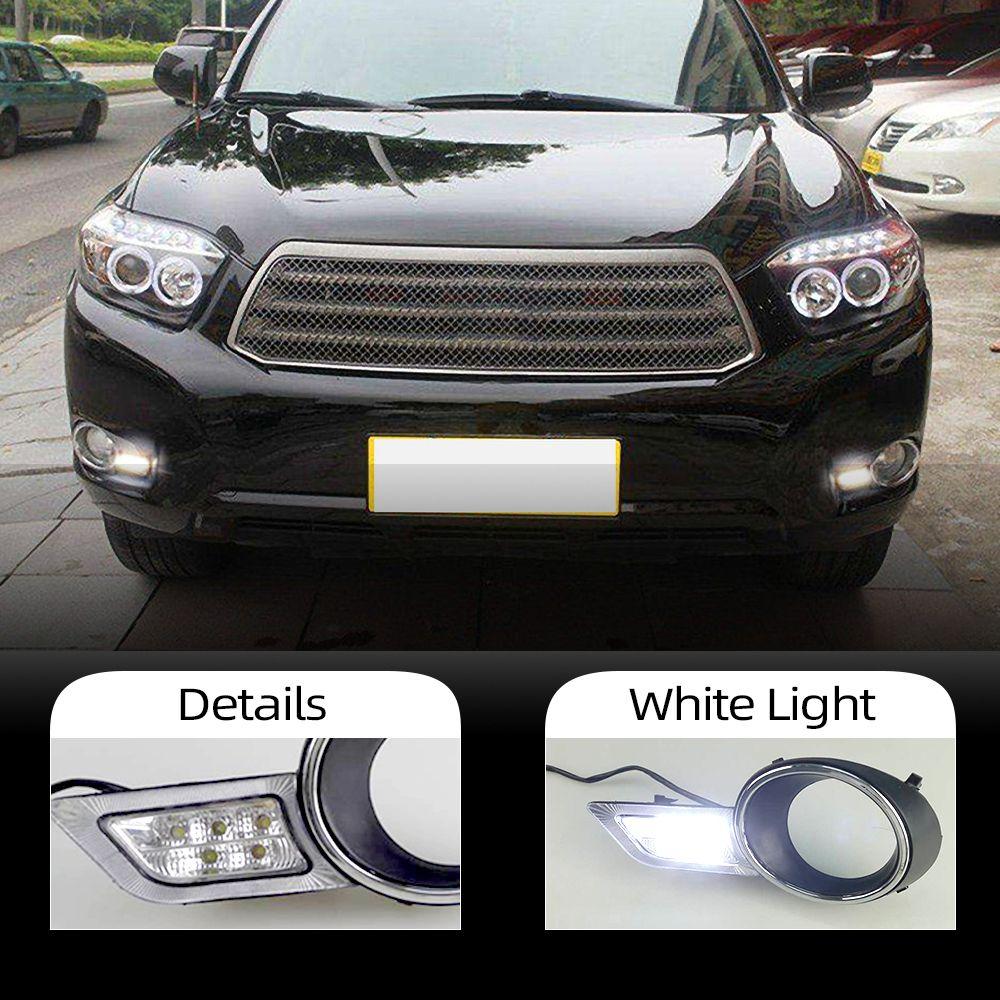 1 insieme per Toyota Highlander 2009 2010 2011 LED DRL Daytime Running Lights Daylight impermeabile bianco testa della nebbia della lampada