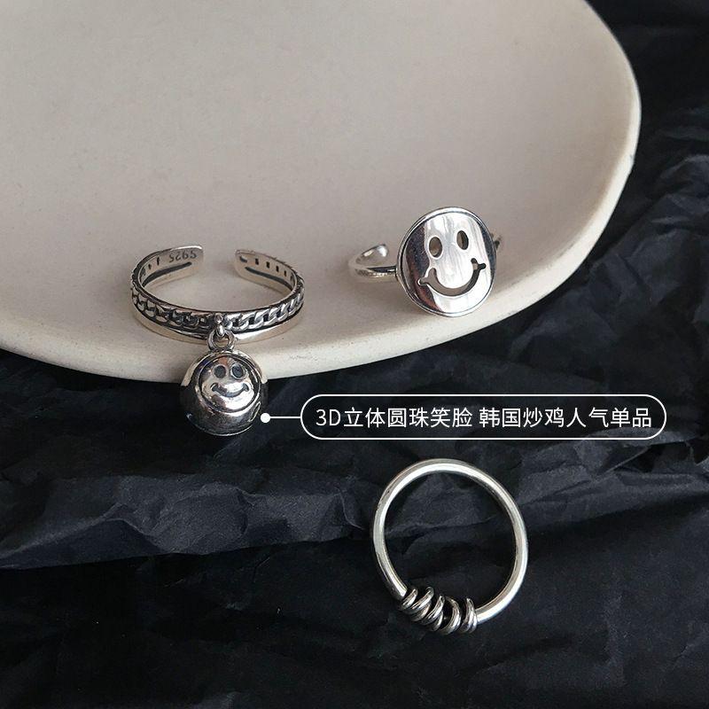 925 Sterling Silver Smiling Face Index Finger Открытого кольцо женщины INS-Простые моды ретро ледяной Ветер Set Combination