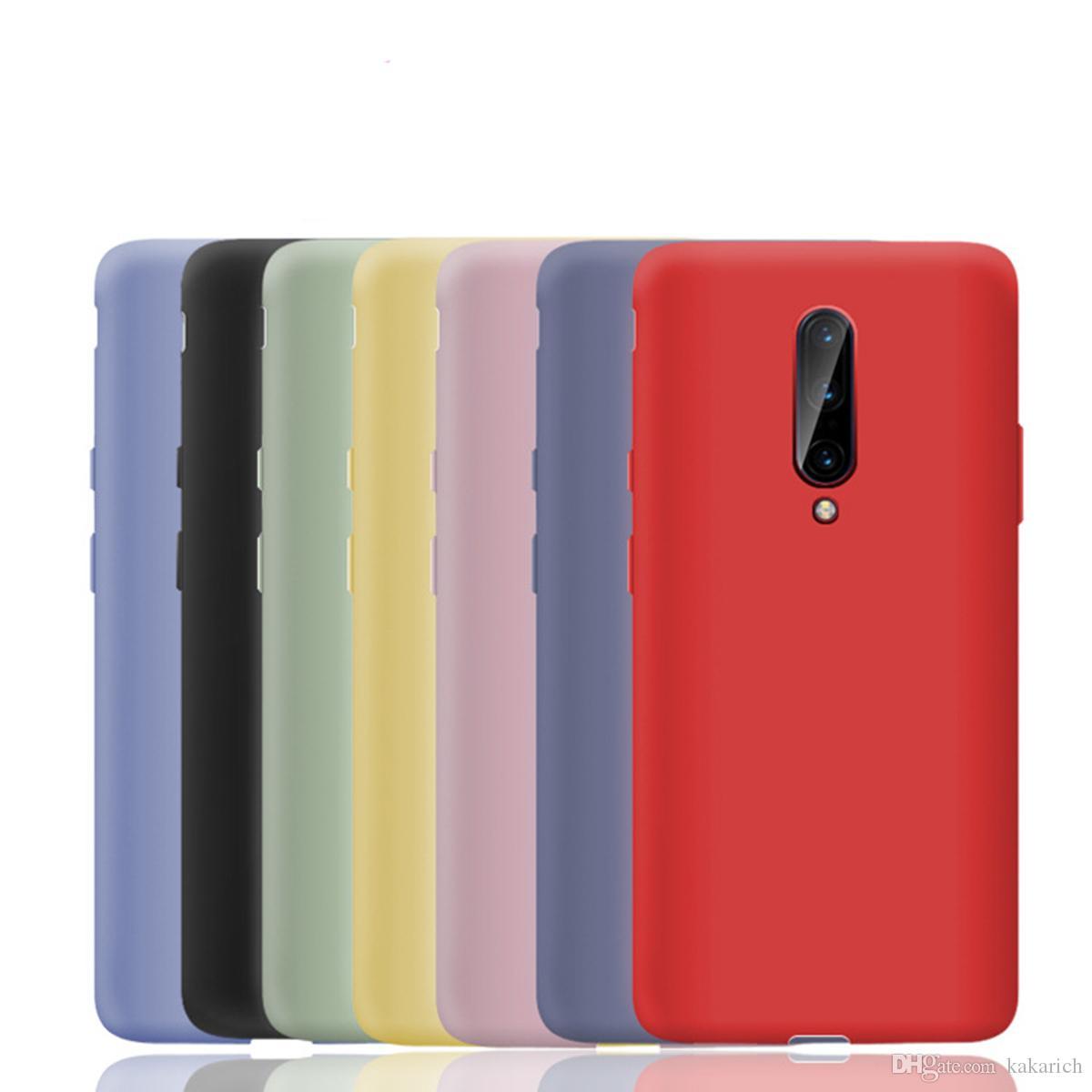 Venta al por mayor 2 piezas para Oneplus 7 Pro / 7 funda líquida de silicona suave tpu cubierta protectora ultra delgada piel de cáscara brillante a prueba de golpes