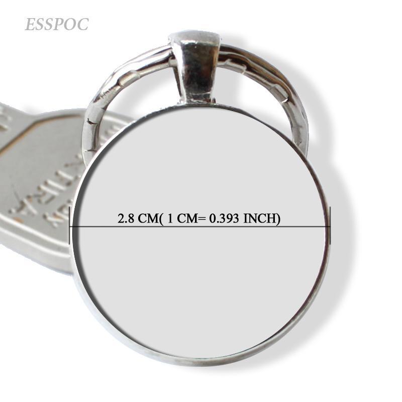 Blank Schlüsselanhänger Anhänger mit handgemachter Schlüsselanhänger Ringe Schlüsselhalter Glascabochon 25mm-Raum-Unter 5pcs / lot