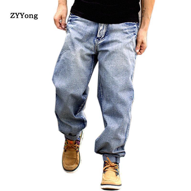 Bleu clair droite en vrac Baggy Cargo Jeans Hommes Harem Pantalon large Leg Denim Planche à roulettes Streetwear Hip Hop Joggers Pantalons Cowboy