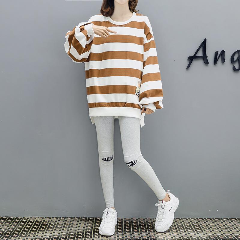 Одежда для беременных Осень Set 2019 Новый стиль беременных женщин Мода набор весной и осенью два-Piece Set Мода Мам Base рубашку