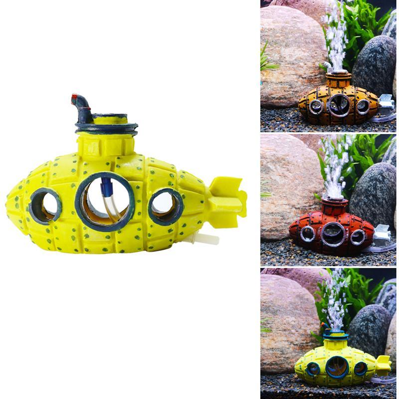 Cueva acuario submarino Barco de burbujas de aire pescados de la decoración del tanque Hundido Refugio Barco ornamento Acuario Decoración para el pescado de ocultación de camarón