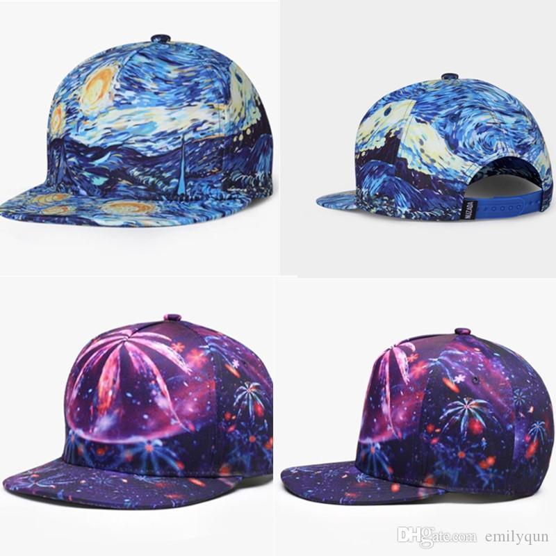패션 남자 힙합 야구 모자 여성용 3D 인쇄 모자 패턴 Snapbacks 거리 댄스 Hiphop 모자 스포츠 캡 조정 가능한 4 색 Sunhats