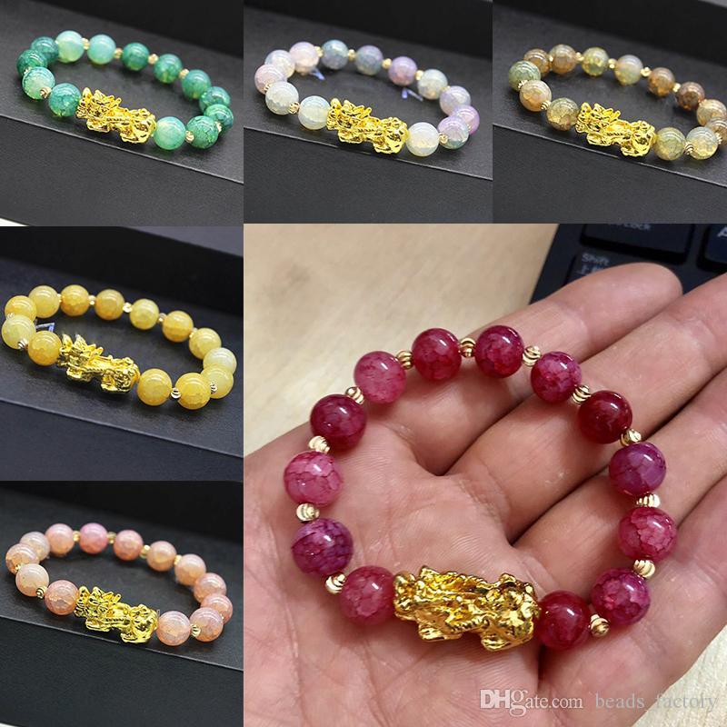 الحجر الطبيعي العقيق الخرز سوار الصينية pixiu محظوظ الشجعان القوات سحر فنغ شوي مجوهرات للنساء