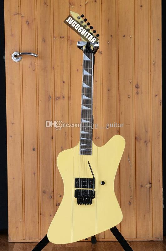 Individuelle Jack Robbin Crosby F Vogel Creme Weiß Electic Gitarre Floyd Rose Tremolo Sicherungsmutter, Schwarze Hardware, Perle Dreieck Inlay