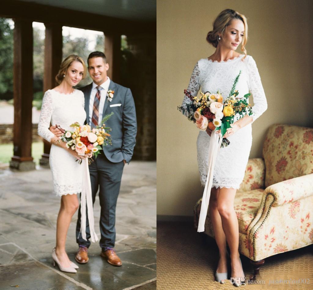 Elegant Long Sleeves 2019 Plus Size Short Wedding Dresses Full Lace Backless Vintage Bohemian Beach Bridal Wedding Gowns Custom Made Cheap