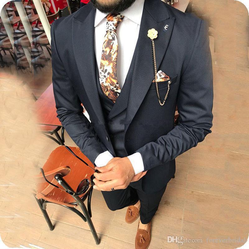 Black Wedding Bridegroom Suits With Peaked Lapel Wedding Pants Coat Design Business Formal Wear Three Pieces (Jacket+Pant+Vest)