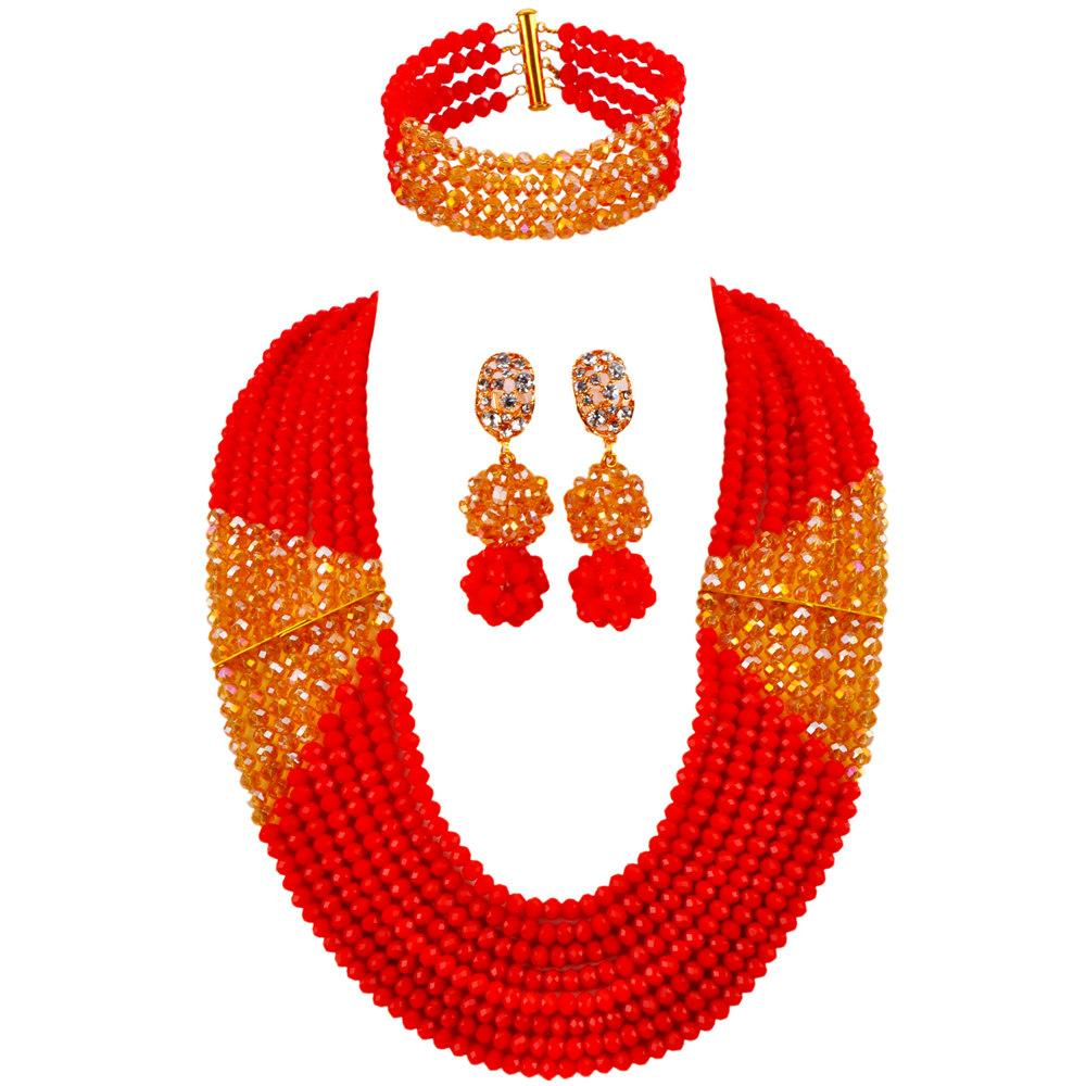 New Arrived Opaque Red and Champagne Gold AB Nigerian Wedding African Beads Jewelry Set Crystal Bridal Jewelry Sets LBSJ04
