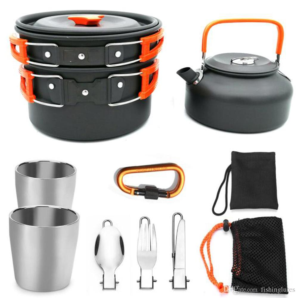 Folding Camping Outdoor Cookware Teapot Pan Set With Teacup Knife Fork Spoon Hiking Picni Tableware for 2-3 People