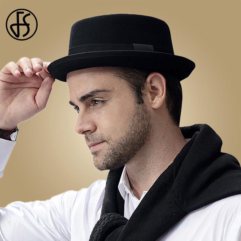 FS 2019 Lana Pork Pie fieltro sombreros de los hombres del sombrero flexible de la cinta ancha de ala Iglesia Negro Fedora Mans sombrero Vintage Jazz Panamá Gangsters Caps Y200110