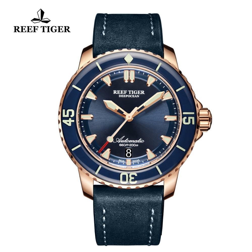 Reef Tiger / RT Taucheruhren Luminous Für Herren Rose Gold Bule Lederband Automatik mit Datum Wasserdicht Uhren RGA3035