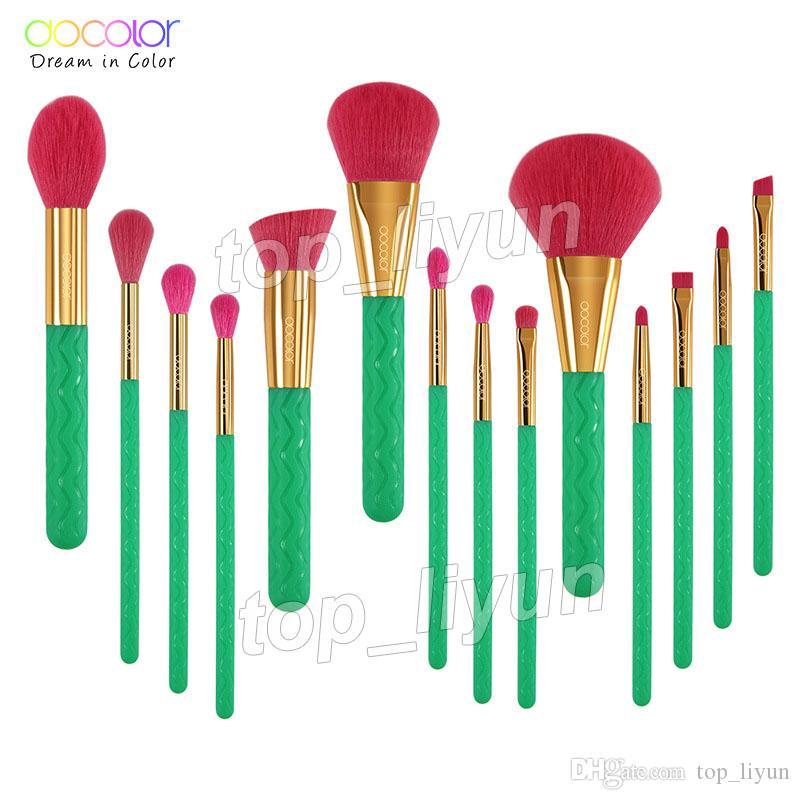 Docolor Pincéis de Maquiagem 14 Pcs Calor Escova Set Foundation Concealer Sombra de Olho Mistura Contorno Destaque Lábio Sobrancelha Compõem Kabuki Kit Escova