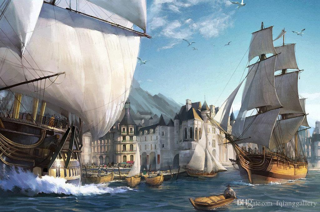 Mur Image Art Meilleur cadeau Fantasy Pirates Navire Bateau Voile Paysage Marin Peinture à L'huile Imprimé Sur Toile Salon Chambre Décor À La Maison Ship63