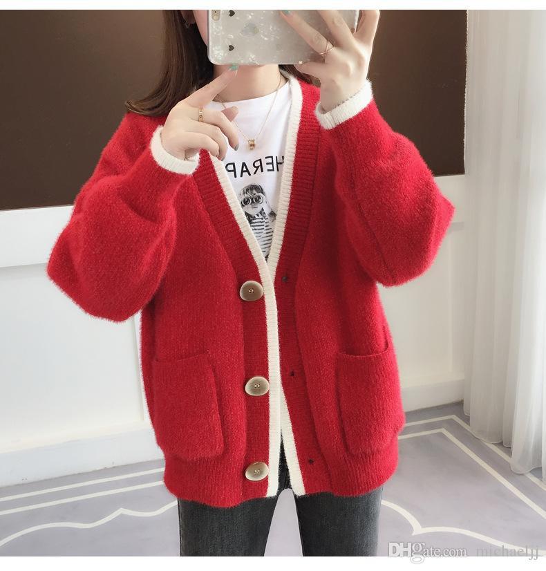게으른 WindNet 겉옷 가을과 겨울 새로운 패션 여성의 스웨터 카디건 여성의 느슨한 긴 소매 최고 크기의 S-L 두꺼운 니트 레드