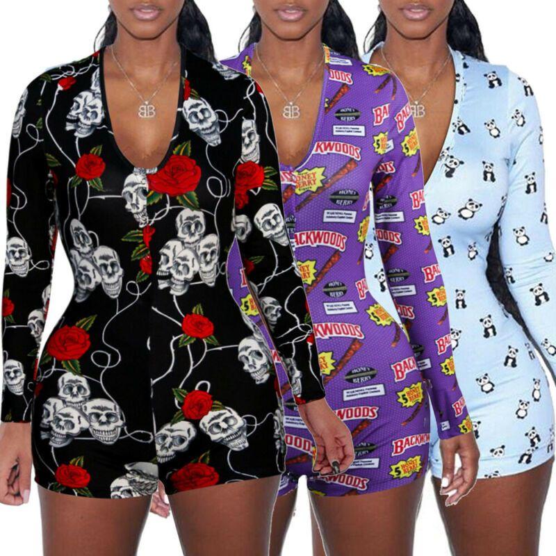 2020 Seksi Kadınlar Romper Şort Uzun Kollu Derin V Yaka BODYCON Stretch Bodysuit Jumpsuit Leotard Pijama tulumları T200527 Tops