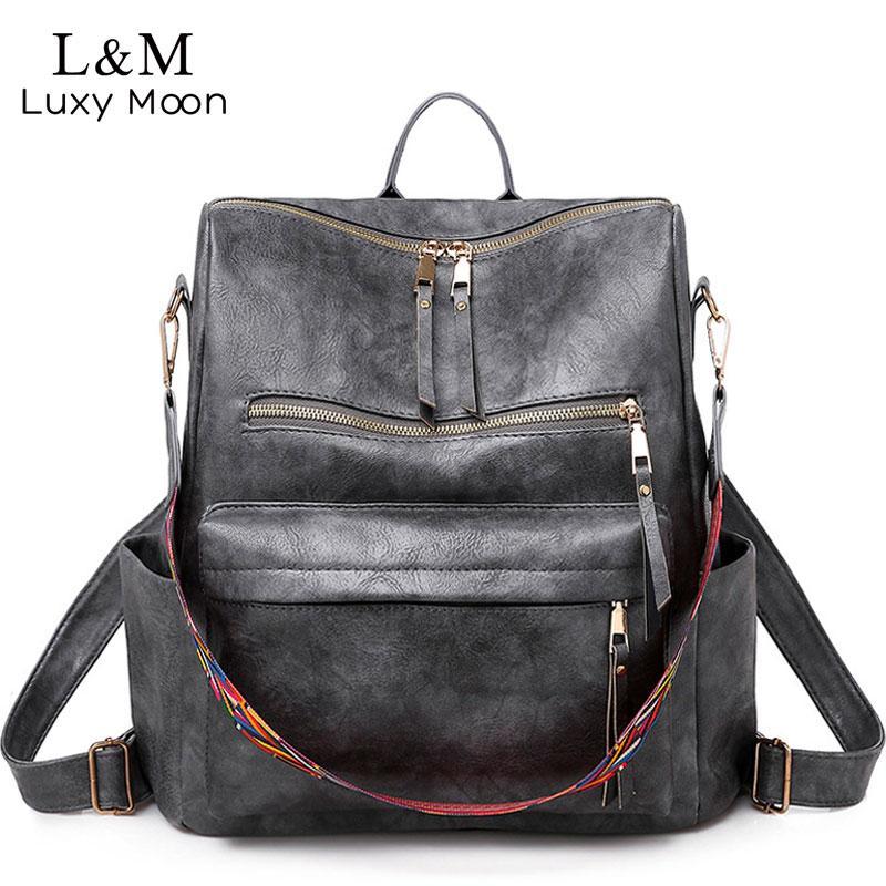 Многофункциональный рюкзак Рюкзаки женщин кожа Большая емкость сумка Vintage ранцевый С Этнический ремень Mochila Mujer 2019 XA55H