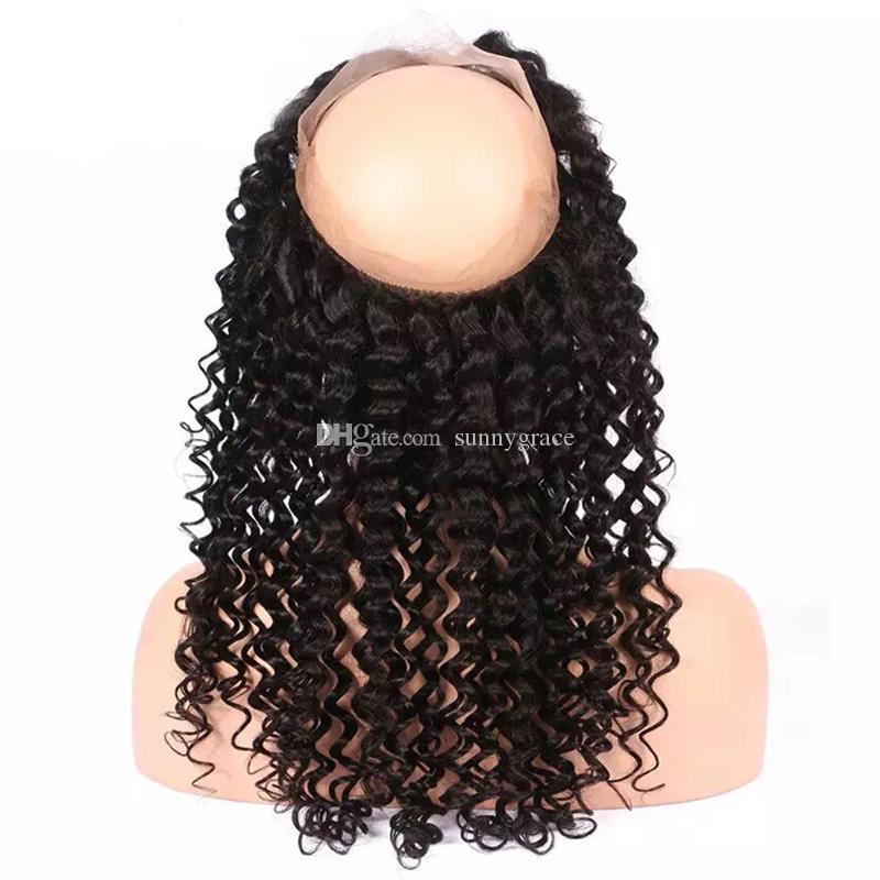 100% Brazilian virgin human hair 360 lace frontal 13*4 from qing dao sunny grace hair company