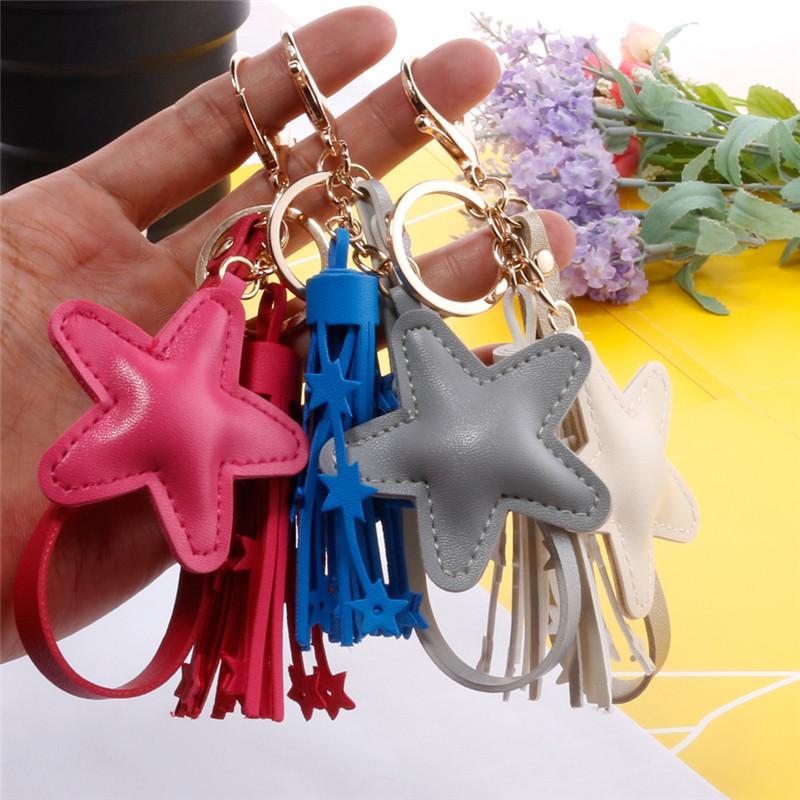 9 Стили Pentagram Подвеска Брелки моды для женщин сумка Keyrings Star кисточкой брелок для девочек Шарм аксессуары