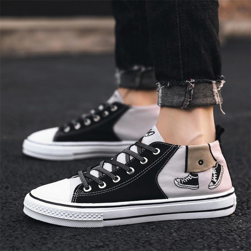 Men Shoes Fashion Male Sneakers High Tops Man Boots Mens Casual Sneakers Lace Up Flats Solid Color Shoes Chaussure Homme