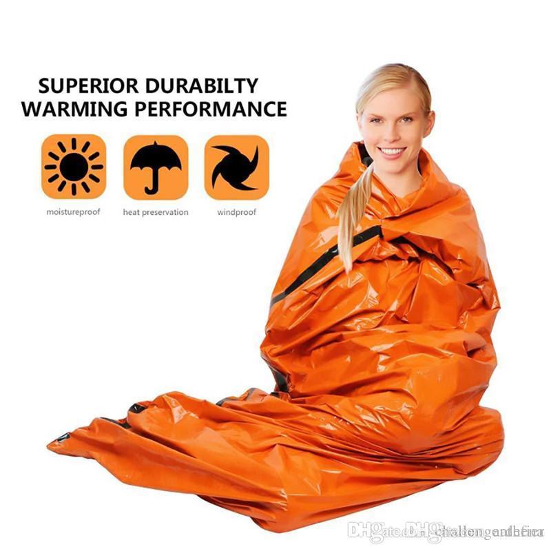 Sac de couchage d'urgence Secourisme d'urgence Sac de couchage PE aluminium Film Tente pour camping en plein air et randonnée Protection contre le soleil