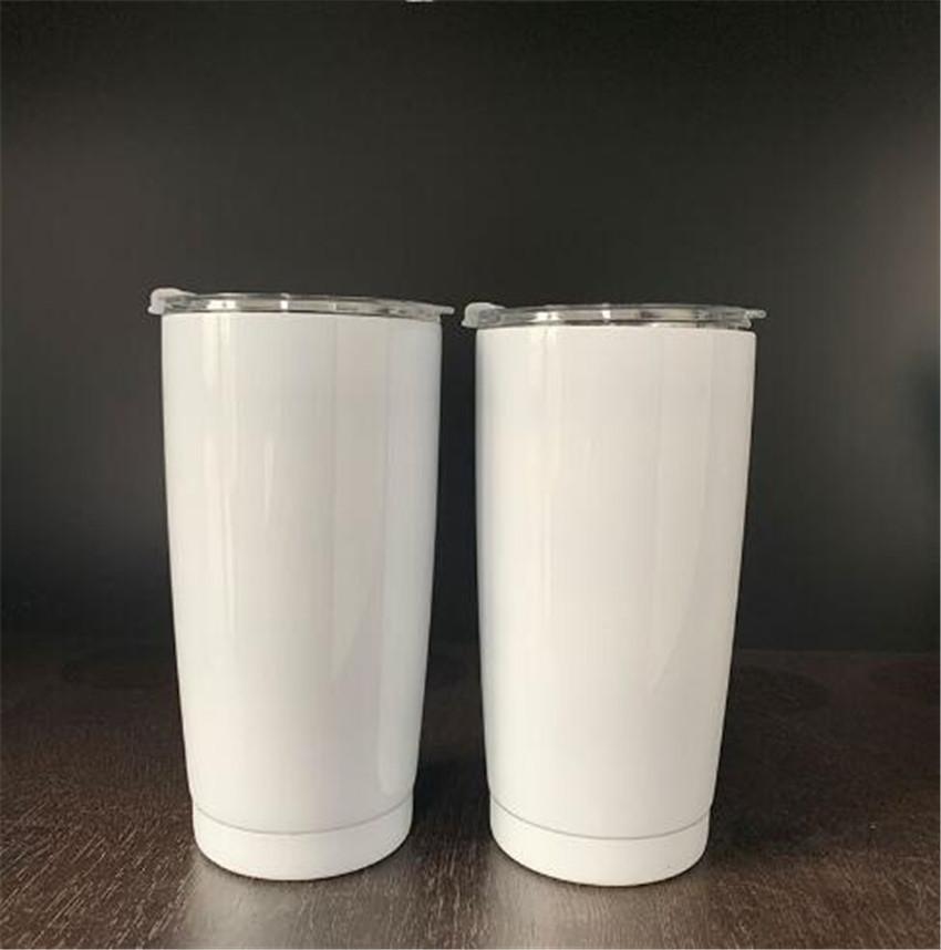 Aço sublimação 20 onças inoxidável Double Wall Tumblers Vácuo transferência de branco Tumblers Duplas Calor Caneca Coffe Impressão com Slid Lid A02