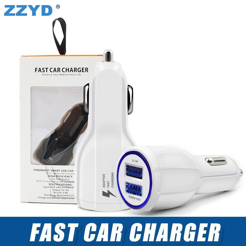ZZYD 3.1 A Fast Car Charger Led Quick Dual USB Charging Adaptive 9V 5V 12V For Samsung S8 Note 8 Any Phone