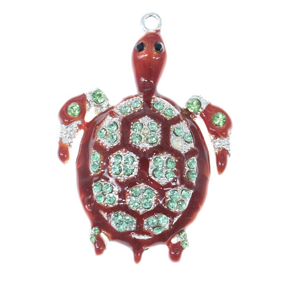 50 Unids / lote China Al Por Mayor Para Mujer Joyas de diamantes de Imitación Animal Esmalte Tortuga de Mar Tortuga Colgante Encanto Para El Collar
