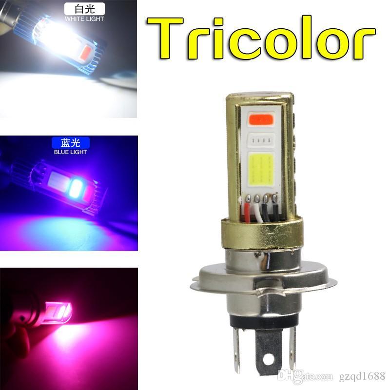 [Tres colores] DC H6 LED AC H4 HS1 faros LED COB moto recta del bulbo 1500LM Hi / Lo haz de luz