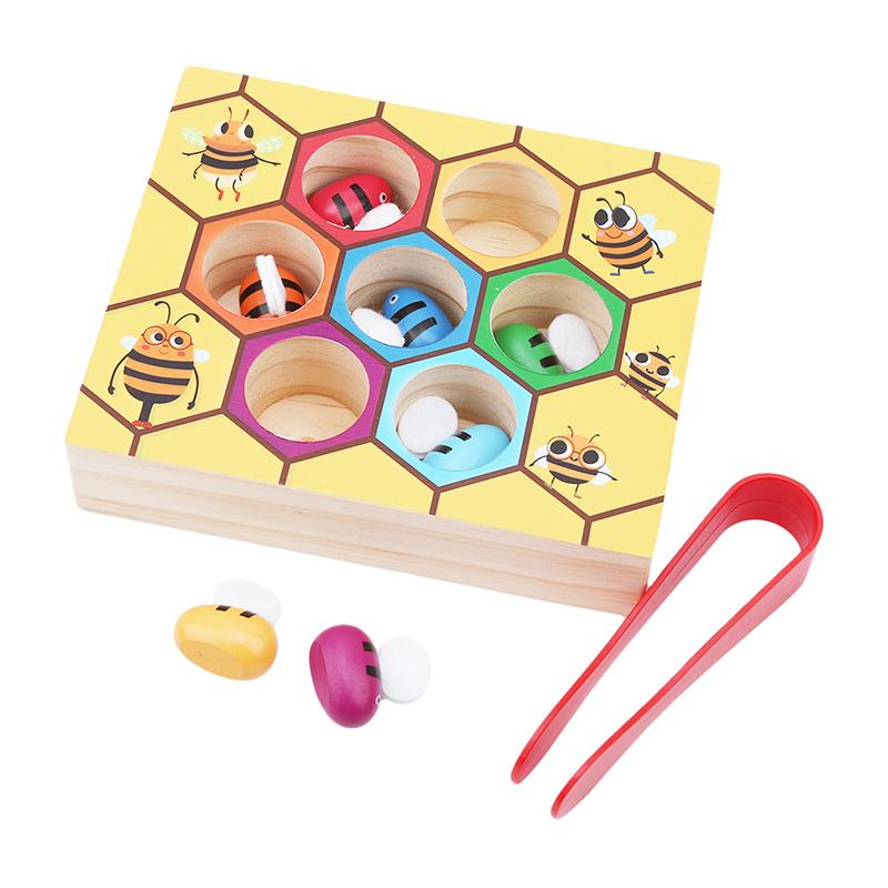 Children Beehive Games Intelligence Color Cognition Toys Wooden Early Montessori Childhood Education Clip Small Bee Toy