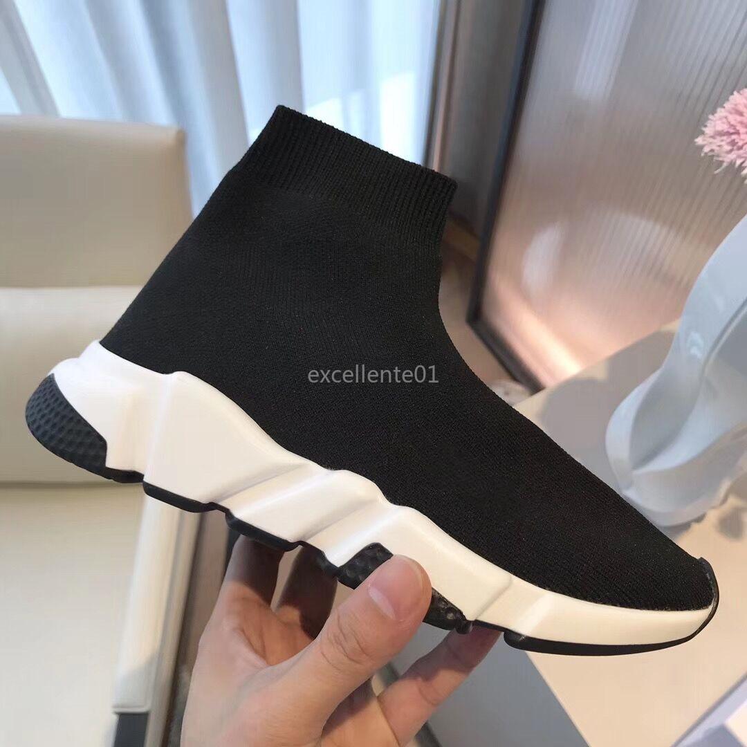 2020 pattini casuali calzino del pattino di sconto in maglia Stretch Sneakers Speed Trainer Calzino da corsa Scarpe Comfort nero Uomini Donne Oreo bianco con la scatola