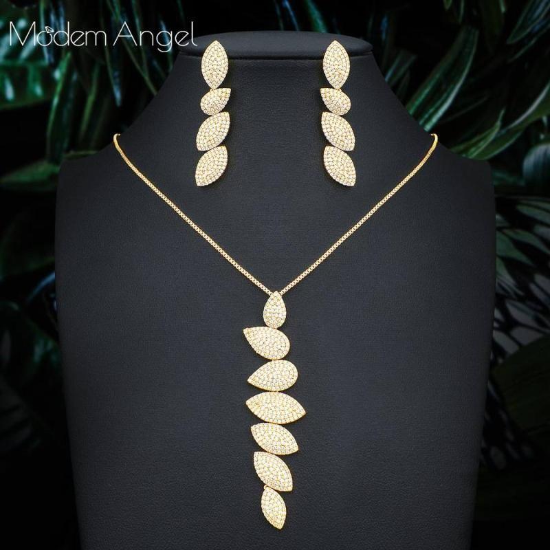 ModemAngel هندسة التصميم الأنيق مجموعة مكعب زركونيا مجوهرات كريستال لونج القرط قطرة خمر قلادة للنساء