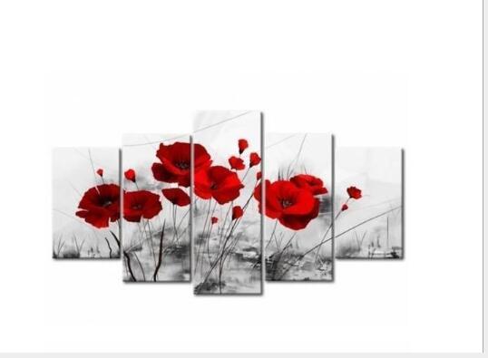 لوحات قماش ديكور المنزل يطبع الخشخاش رومانسية المشارك 5 أجزاء الأحمر الزهور صور لغرفة المعيشة وحدات جدار الفن