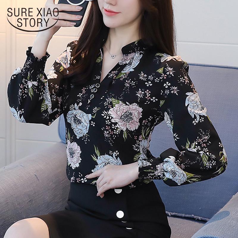 2018 Nova Primavera de Manga Comprida Blusas de Moda Slim Impressão Casual Plus Size Elegante Estilo Ol Mulheres Camisas Roupas Chiffon D556 30 Y190510