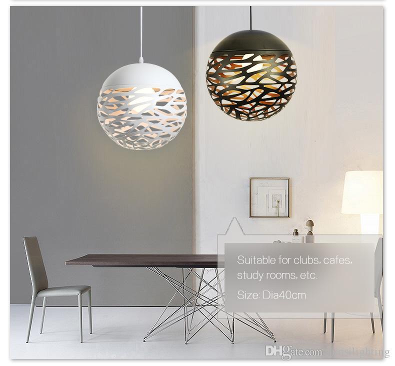 ferro simples Nordic lâmpadas pendant criativo bar personalidade quarto restaurante bola oca pingente luzes fio branco preto